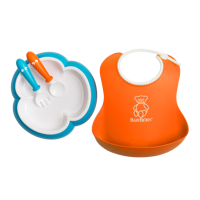 BABYBJORN - zestaw do karmienia - pomarańczowy/niebieski