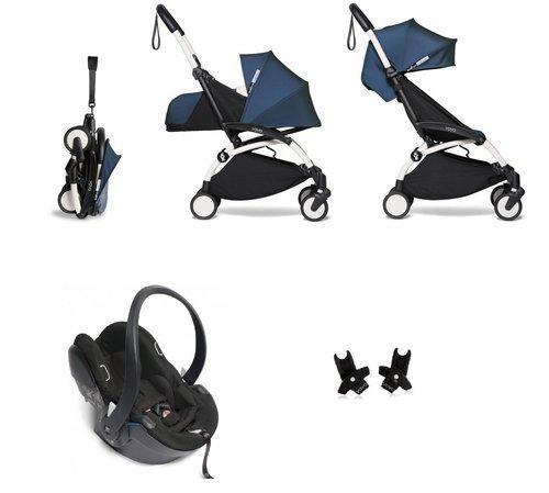 BABYZEN YOYO² - kompletny zestaw 0+ i 6+ biała rama/tapicerka Air France Blue/fotelik samochodowy/adaptery