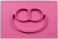 EZPZ - Silikonowy talerzyk z podkładką 2w1 Happy Mat różowy