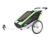 THULE Chariot Cheetah 2, podwójna przyczepka rowerowa dla dziecka - zielona
