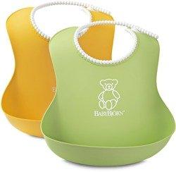 BABYBJORN - 2 śliniaki -  zielony / żółty