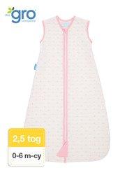 Gro Company - Śpiworek Grobag Pink Hearts grubość 2,5 tog Jacquard,  0-6 miesięcy
