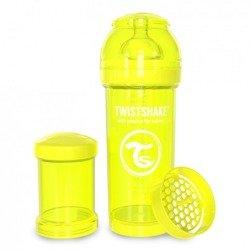 Twistshake - Antykolkowa butelka do karmienia, żółta 260ml