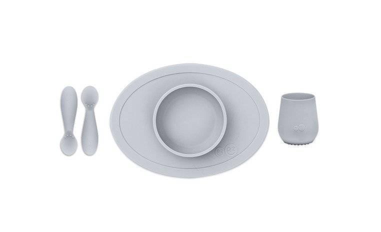 EZPZ - Komplet pierwszych naczyń silikonowych First Foods Set, pastelowa szarość