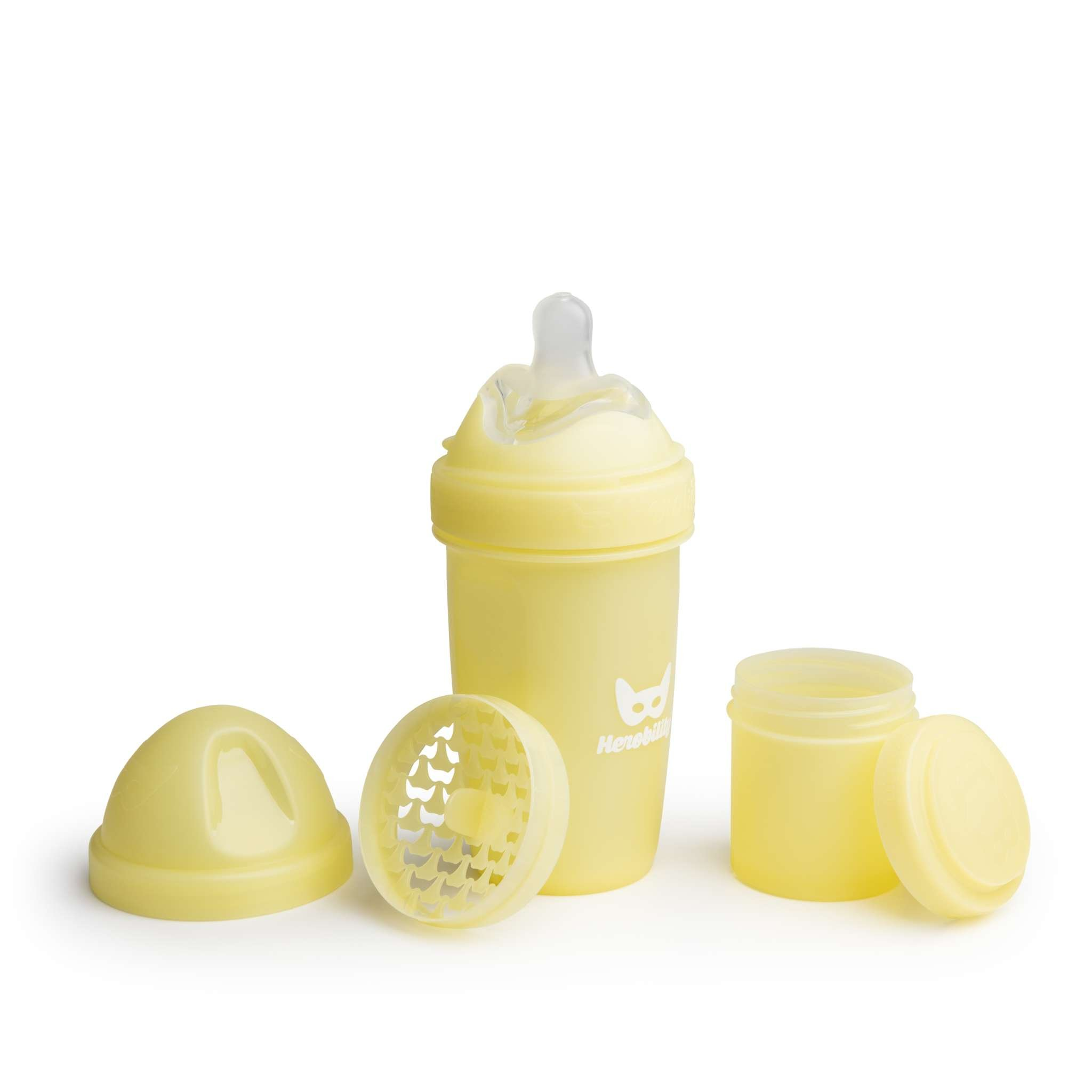 Herobility - butelka antykolkowa Herobottle 240 ml, żółty + smoczek M (2 m+)