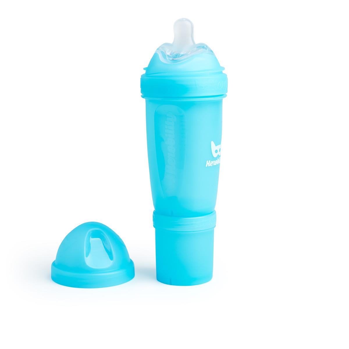 Herobility - butelka antykolkowa Herobottle 340 ml, niebieska + smoczek L (4 m+)