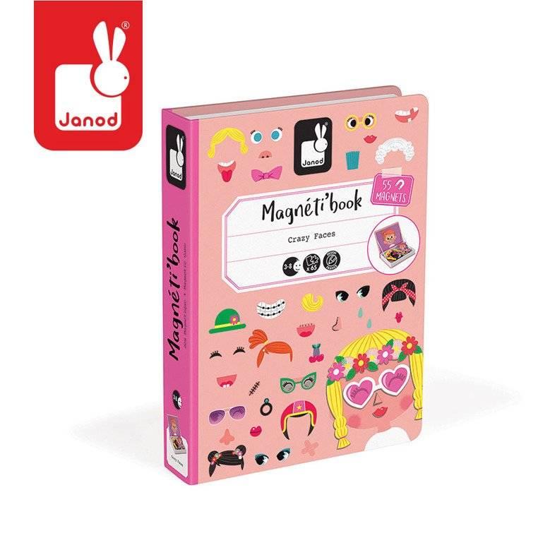 Janod – Magnetyczna układanka Śmieszne buzie Dziewczynka Magnetibook kolekcja 2018