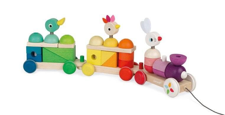 Janod - Pociąg z klockami i zwierzątkami do ciągnięcia