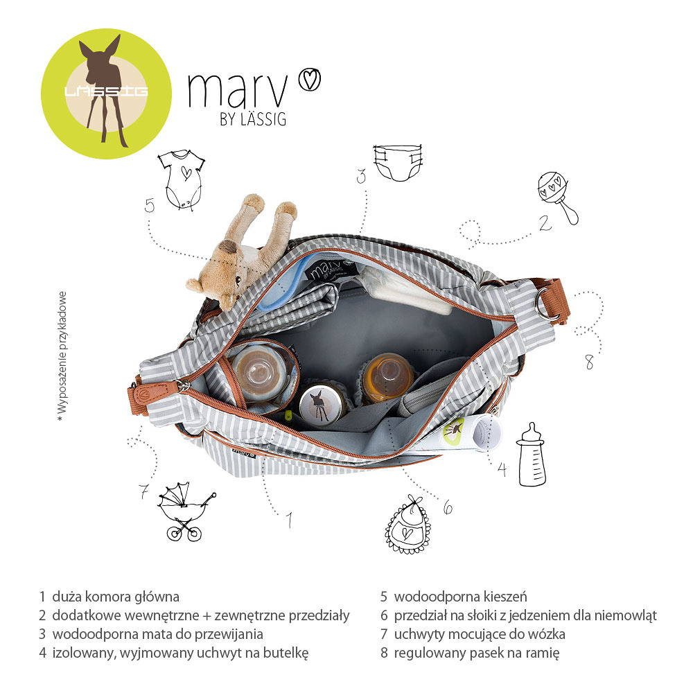 Lassig - Marv Torba z akcesoriami Urban bag Pinstripe light grey
