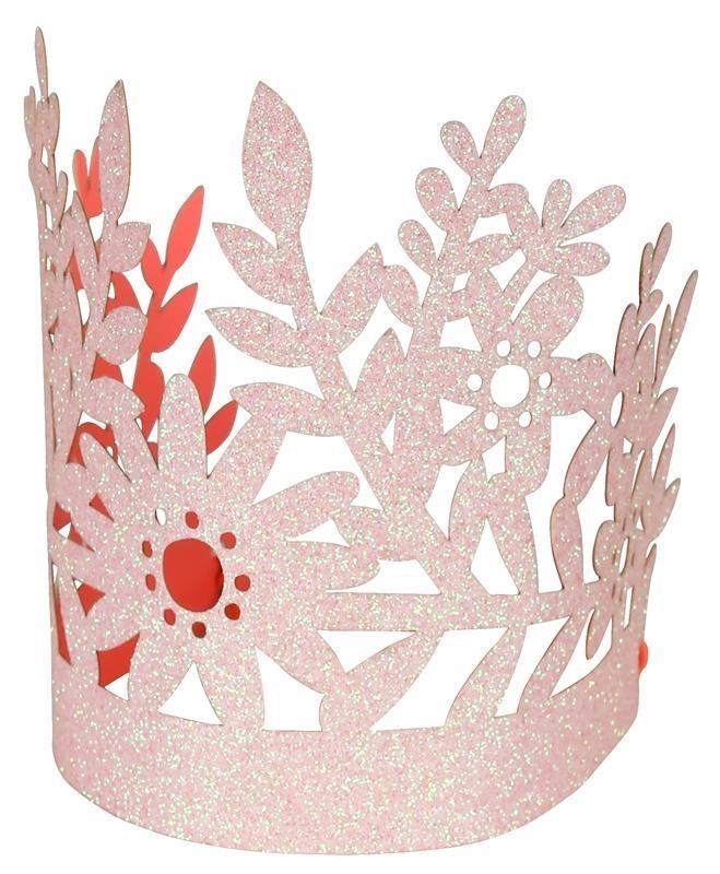 Meri Meri - Korony brokatowe różowe