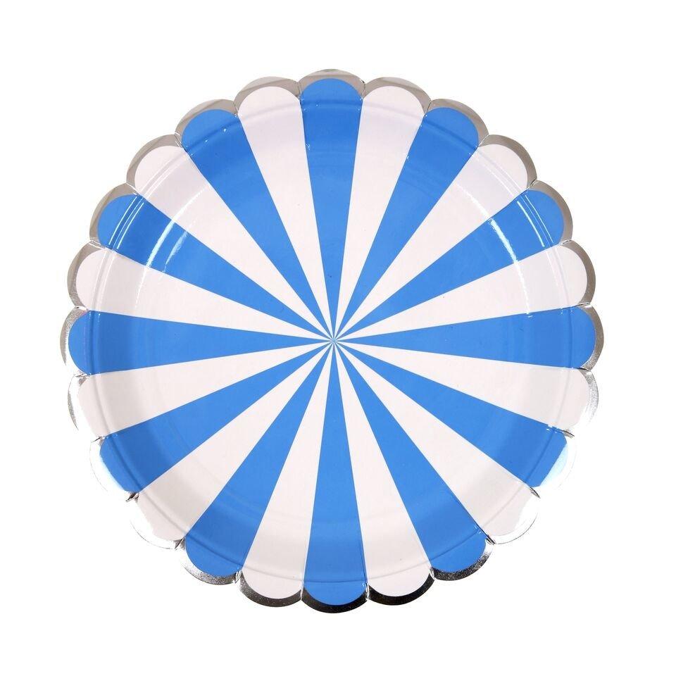 Meri Meri – Małe talerzyki Paski niebieskie