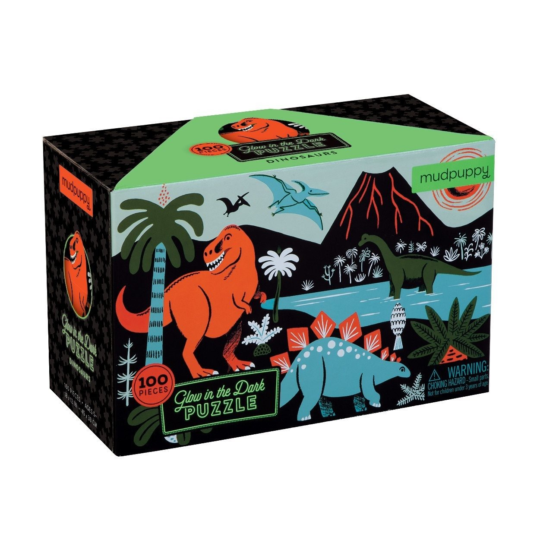 Mudpuppy – Puzzle świecące w ciemności Dinozaury 100 elementów 5+