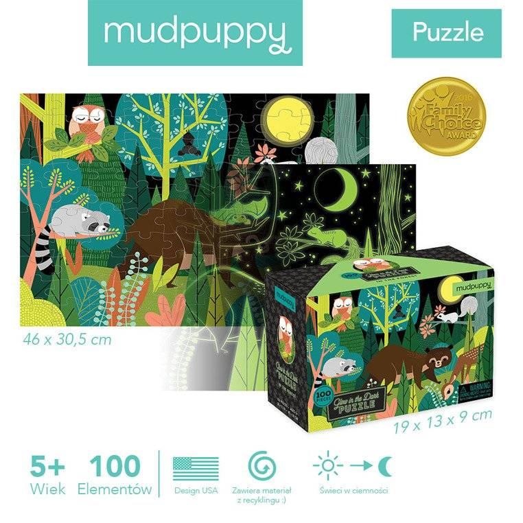 Mudpuppy – Puzzle świecące w ciemności W lesie 100 elementów 5+