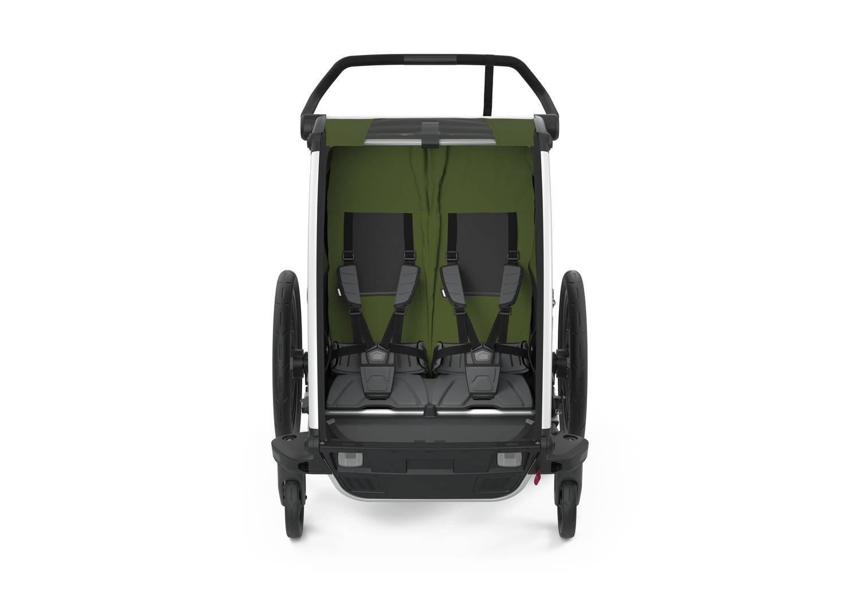Przyczepka rowerowa dla dziecka, podwójna  - THULE Chariot Cab 2 - Cypress Green-Black