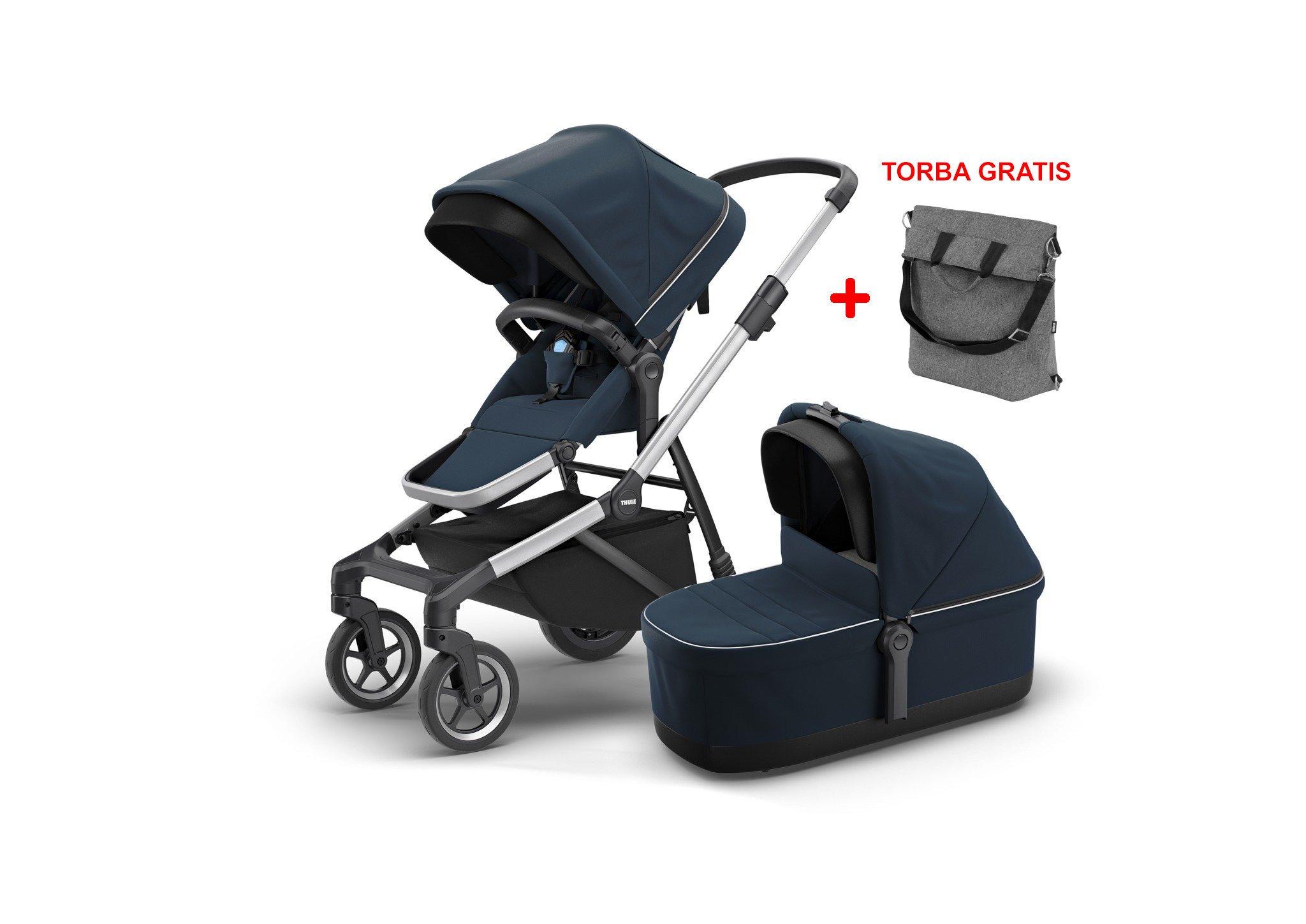 Thule Sleek Navy Blue siedzisko spacerowe + gondola + torba gratis