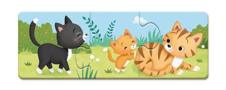 Trzyczęściowe puzzle Zwierzęta i ich dzieci, 30 elementów