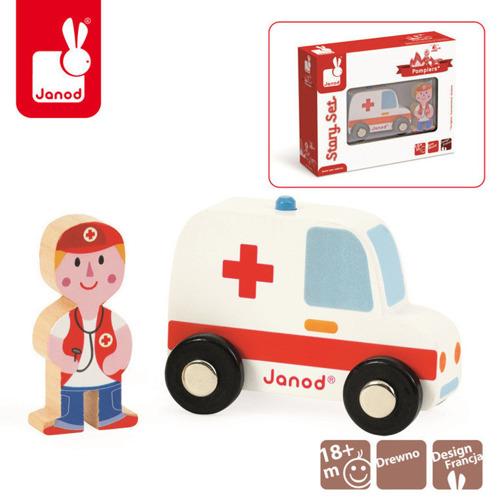 Janod - Ambulans z lekarzem zestaw drewniany