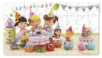 Janod - Puzzle 2w1 Julia świętuje urodziny