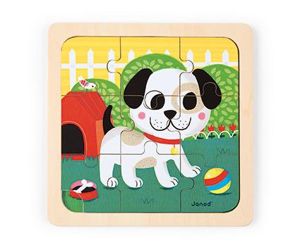 Janod - Puzzle drewniane Pies Titus