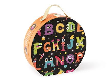 Janod - Puzzle podłogowe w walizce Alfabet potworki