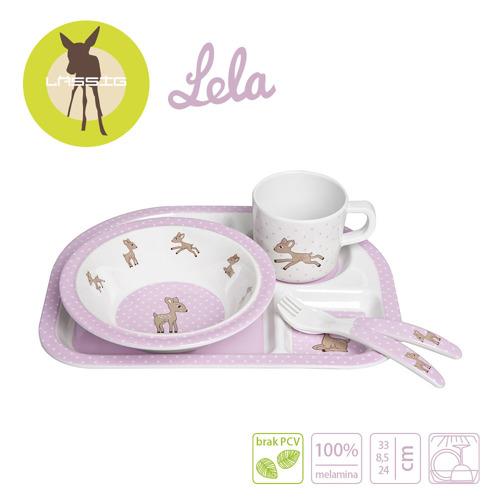 Lassig - Komplet naczyń z melaminy Lela pastelowy różowy