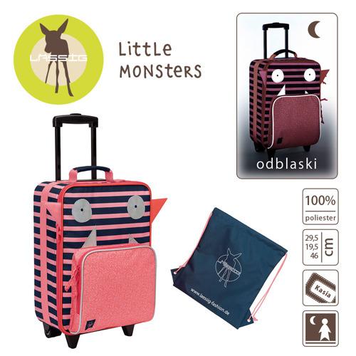 Lassig Walizka z torbą na buty i pranie Little Monster koral