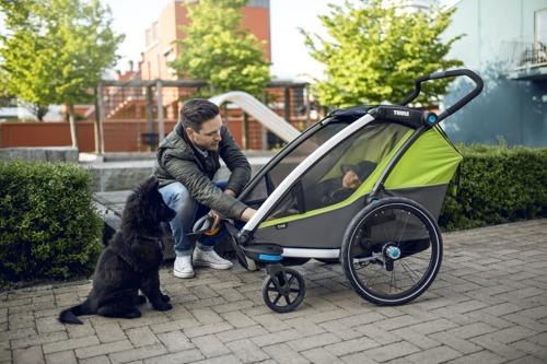 Przyczepka rowerowa dla dziecka, podwójna  - THULE Chariot Cab 2 - oliwkowa/szara