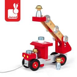 Janod - Wóz strażacki do składania drewniany duży
